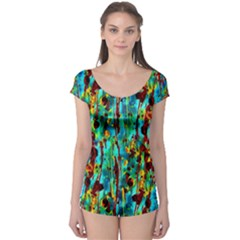 Turquoise Blue Green  Painting Pattern Short Sleeve Leotard