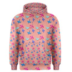 Birds Pattern On Pink Background Men s Pullover Hoodies by LovelyDesigns4U