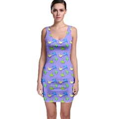 Blue And Green Birds Pattern Bodycon Dresses by LovelyDesigns4U