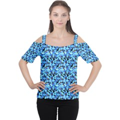 Turquoise Blue Abstract Flower Pattern Women s Cutout Shoulder Tee by Costasonlineshop