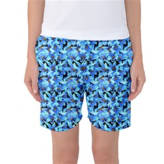 Turquoise Blue Abstract Flower Pattern Women s Basketball Shorts by Costasonlineshop