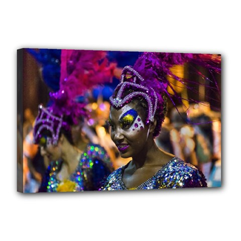 Costumed Attractive Dancer Woman At Carnival Parade Of Uruguay Canvas 18  X 12  by dflcprints