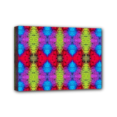 Colorful Painting Goa Pattern Mini Canvas 7  X 5  by Costasonlineshop
