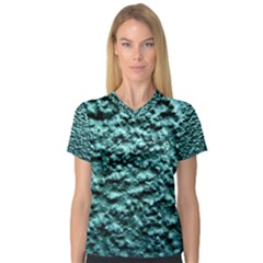 Green Metallic Background, Women s V Neck Sport Mesh Tee by Costasonlineshop