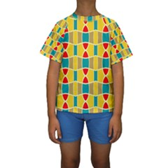 Colorful chains pattern  Kid s Short Sleeve Swimwear by LalyLauraFLM