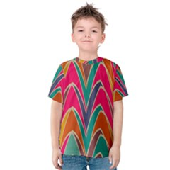 Bended Shapes In Retro Colors Kid s Cotton Tee by LalyLauraFLM