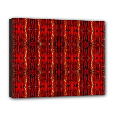 Red Gold, Old Oriental Pattern Deluxe Canvas 20  X 16   by Costasonlineshop