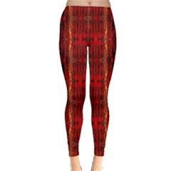 Red Gold, Old Oriental Pattern Women s Leggings by Costasonlineshop