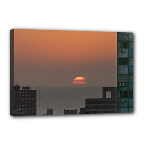 Aerial View Of Sunset At The River In Montevideo Uruguay Canvas 18  X 12  by dflcprints