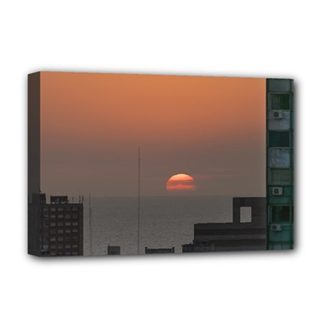 Aerial View Of Sunset At The River In Montevideo Uruguay Deluxe Canvas 18  x 12   by dflcprints