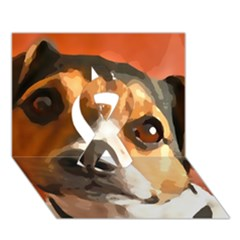Jack Russell Terrier Ribbon 3d Greeting Card (7x5)