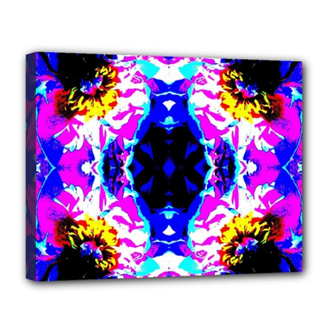 Animal Design Abstract Blue, Pink, Black Canvas 14  X 11  by Costasonlineshop