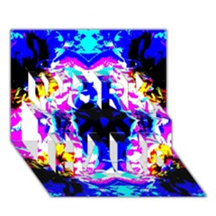 Animal Design Abstract Blue, Pink, Black Work Hard 3d Greeting Card (7x5)  by Costasonlineshop