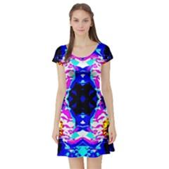 Animal Design Abstract Blue, Pink, Black Short Sleeve Skater Dresses by Costasonlineshop