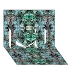 Green Black Gothic Pattern I Love You 3d Greeting Card (7x5)  by Costasonlineshop