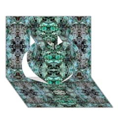 Green Black Gothic Pattern Heart 3d Greeting Card (7x5)  by Costasonlineshop