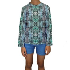 Green Black Gothic Pattern Kid s Long Sleeve Swimwear by Costasonlineshop