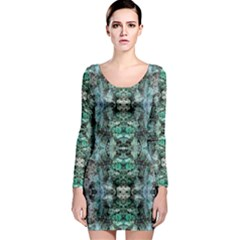 Green Black Gothic Pattern Long Sleeve Bodycon Dresses by Costasonlineshop