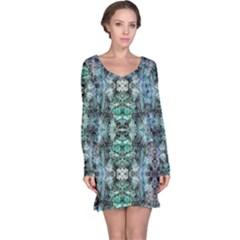Green Black Gothic Pattern Long Sleeve Nightdresses by Costasonlineshop