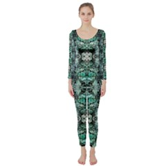 Green Black Gothic Pattern Long Sleeve Catsuit by Costasonlineshop