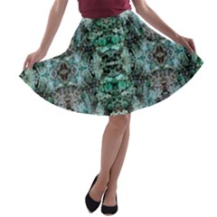 Green Black Gothic Pattern A Line Skater Skirt by Costasonlineshop