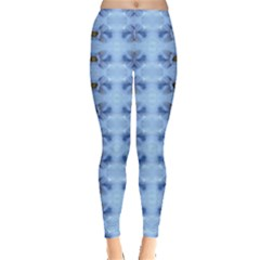 Pastel Blue Flower Pattern Women s Leggings by Costasonlineshop