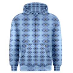 Pastel Blue Flower Pattern Men s Zipper Hoodies by Costasonlineshop