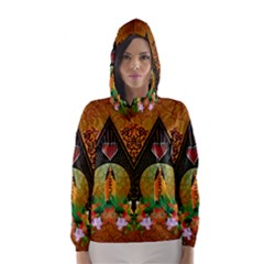 Surfing, Surfboard With Flowers And Floral Elements Hooded Wind Breaker (women) by FantasyWorld7