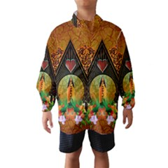 Surfing, Surfboard With Flowers And Floral Elements Wind Breaker (Kids) by FantasyWorld7