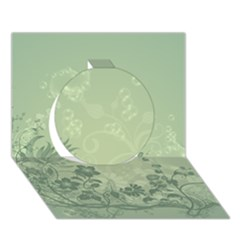Wonderful Flowers In Soft Green Colors Circle 3d Greeting Card (7x5)