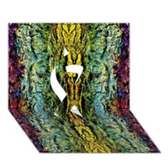 Abstract, Yellow Green, Purple, Tree Trunk Ribbon 3d Greeting Card (7x5)  by Costasonlineshop