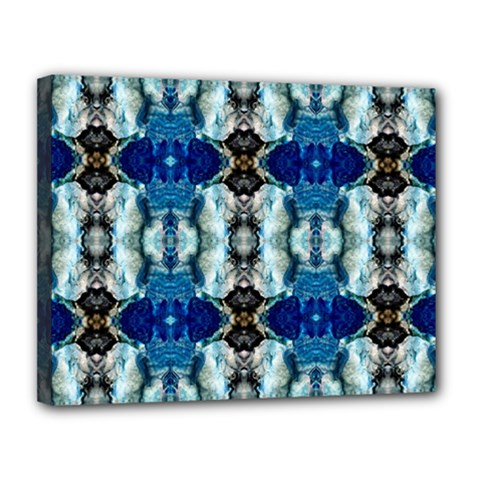 Royal Blue Abstract Pattern Canvas 14  X 11  by Costasonlineshop