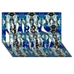 Royal Blue Abstract Pattern Happy Birthday 3d Greeting Card (8x4)  by Costasonlineshop