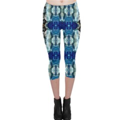 Royal Blue Abstract Pattern Capri Leggings by Costasonlineshop