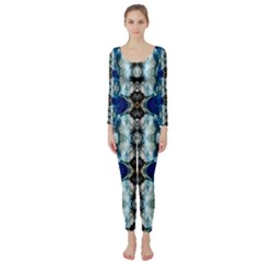 Royal Blue Abstract Pattern Long Sleeve Catsuit by Costasonlineshop
