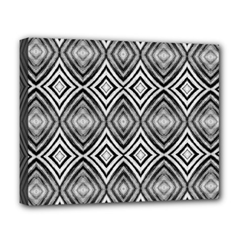 Black White Diamond Pattern Deluxe Canvas 20  X 16   by Costasonlineshop