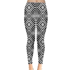 Black White Diamond Pattern Women s Leggings by Costasonlineshop