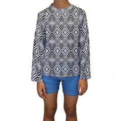 Black White Diamond Pattern Kid s Long Sleeve Swimwear by Costasonlineshop