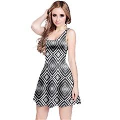 Black White Diamond Pattern Reversible Sleeveless Dresses by Costasonlineshop