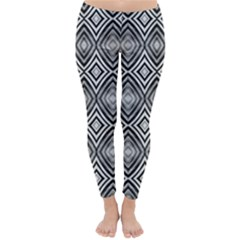 Black White Diamond Pattern Winter Leggings  by Costasonlineshop