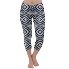 Black White Diamond Pattern Capri Winter Leggings  by Costasonlineshop