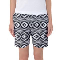 Black White Diamond Pattern Women s Basketball Shorts by Costasonlineshop