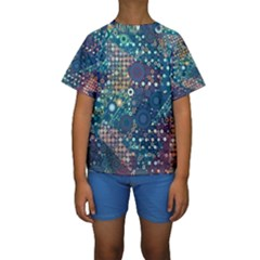 Blue Bubbles Kid s Short Sleeve Swimwear by KirstenStar