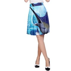 Awersome Marlin In A Fantasy Underwater World A Line Skirt by FantasyWorld7