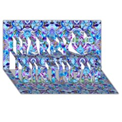 Elegant Turquoise Blue Flower Pattern Happy Birthday 3d Greeting Card (8x4)  by Costasonlineshop