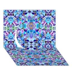 Elegant Turquoise Blue Flower Pattern Circle 3d Greeting Card (7x5)  by Costasonlineshop