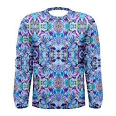 Elegant Turquoise Blue Flower Pattern Men s Long Sleeve T Shirts by Costasonlineshop