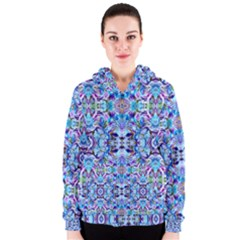 Elegant Turquoise Blue Flower Pattern Women s Zipper Hoodies by Costasonlineshop