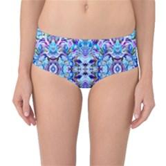 Elegant Turquoise Blue Flower Pattern Mid Waist Bikini Bottoms by Costasonlineshop