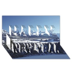Snowy Mountains Happy New Year 3d Greeting Card (8x4)  by trendistuff